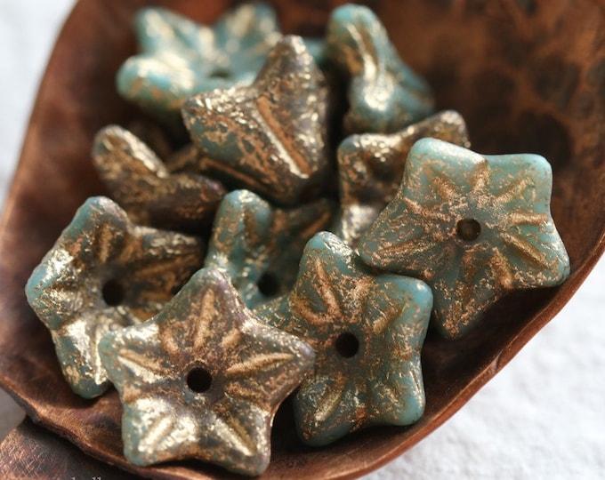 GOLDEN GREEN POSIES .. New 10 Premium Etched Czech Glass Flower Beads 9x6mm (7851-10)