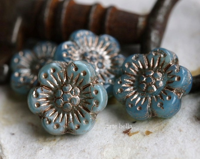 PLATINUM AQUA OPAL Roses .. 6 Premium Platinum Czech Glass Wild Rose Beads 14mm (7222-6)