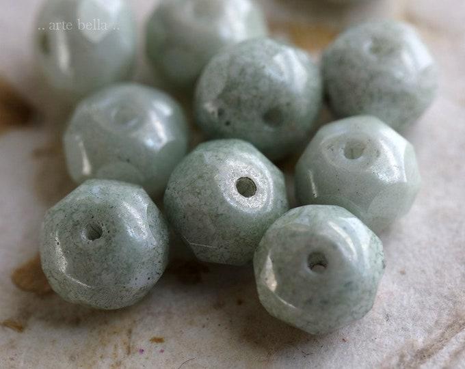 SAGE MIST .. 10 Premium Picasso Czech Glass Rondelle Beads 6x9mm (6642-10)