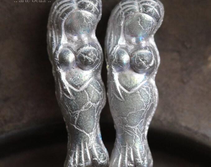 MYSTIC GREY MERMAID .. 2 Premium Matte Czech Glass Mermaid Beads 5x25mm (7894-2)
