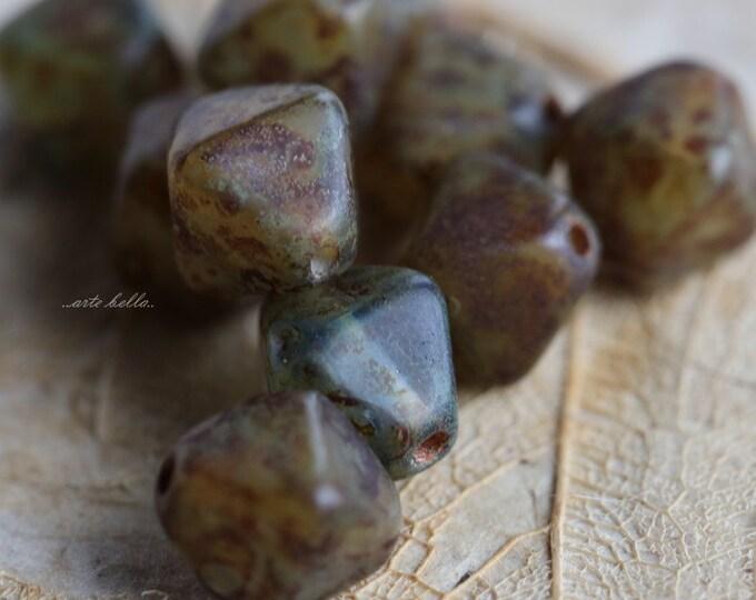 sale .. EARTHY DIAMONDS .. 10 Premium Picasso Czech Diamond Glass Beads 7x8mm (5047-10)