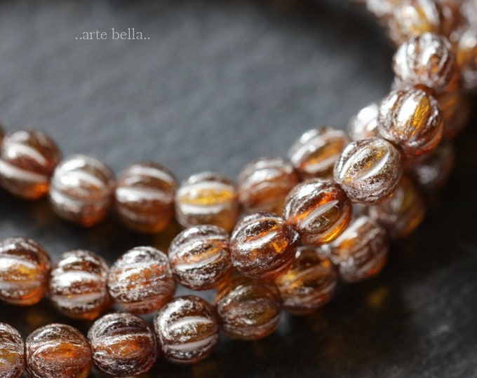 SILVERED AMBER MELONS 4mm .. 50 Premium Picasso Czech Glass Melon Beads (6279-st)