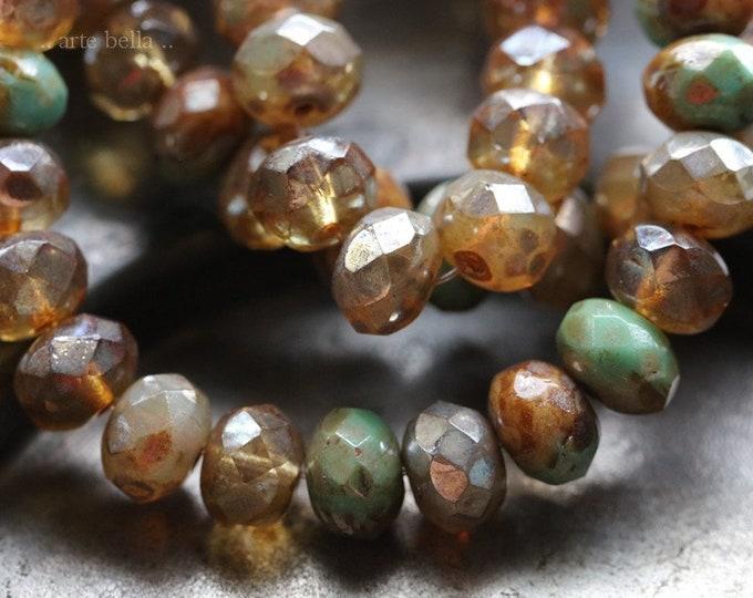 sale .. MEDLEY No. 4056 .. 25 Premium Picasso Czech Glass Rondelle Mix Beads 6x8mm (4056-st)