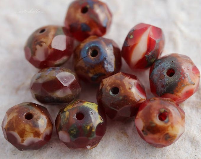 sale .. STRAWBERRY CHEESECAKE .. 10 Premium Czech Picasso Rondelle Glass Beads 6x8-9mm (5817-10)