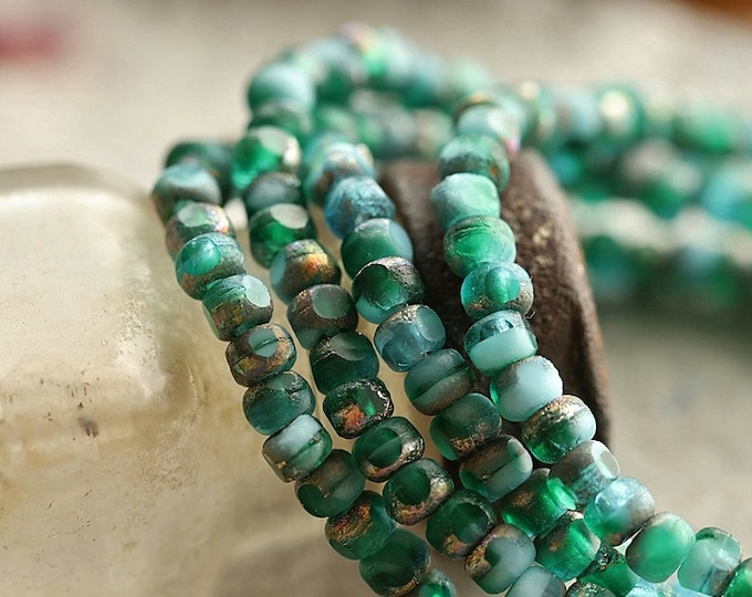 EMERALD SKY SEEDS .. New 50 Premium Etched Czech Glass Trica Seed Bead 4x3mm (8924-st)