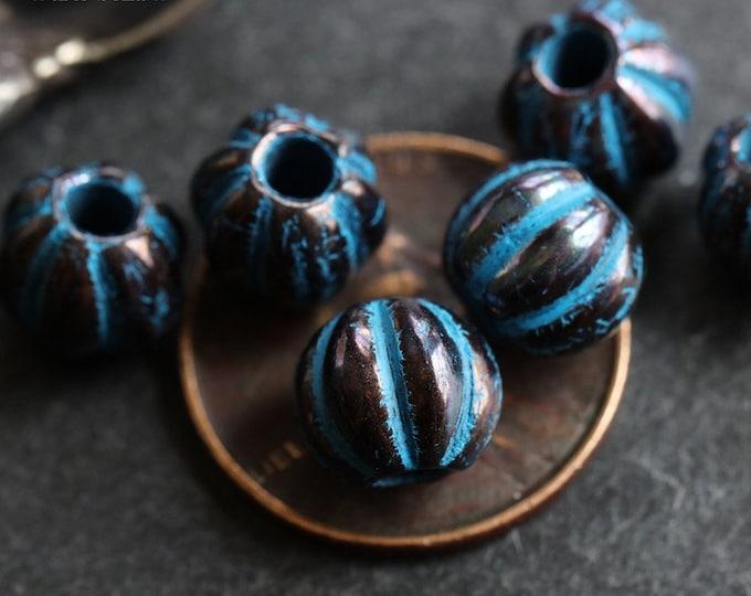 BLUE BRONZE MELONS No. 2 .. 10 Premium Picasso Large Hole Czech Glass Melon Beads 8mm (7104-10)