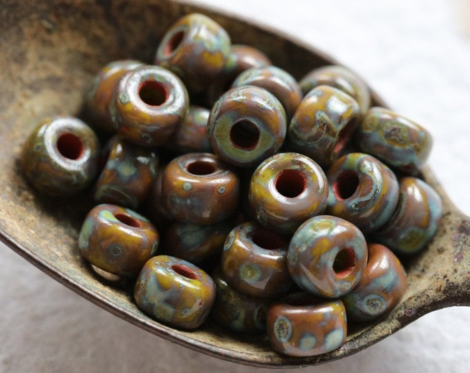 EARTHY LICHEN SEEDS .. New 30 Premium Picasso Matubo Czech Glass Seed Beads Size 2/0 (8380-30)
