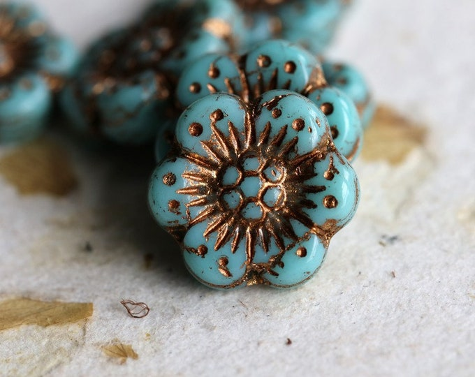 BRONZED TURQUOISE ROSES .. New 6 Premium Picasso Czech Glass Wild Rose Beads 14mm (7220-6)