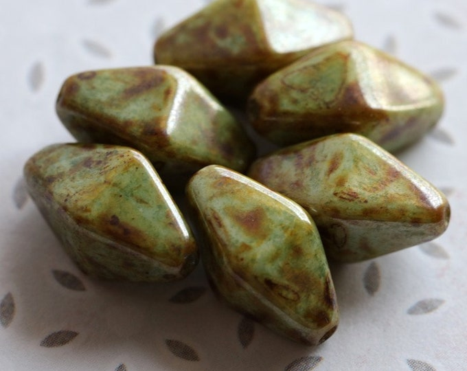 EARTHY SAGE BICONES No. 2 .. 6 Premium Picasso Czech Glass Bicone Beads 15x8mm (8392-6)