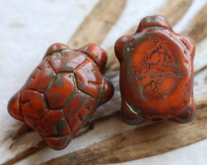 sale .. ORANGE TURTLES .. 2 Czech Picasso Glass Turtle Beads 20x8mm (5305-2)