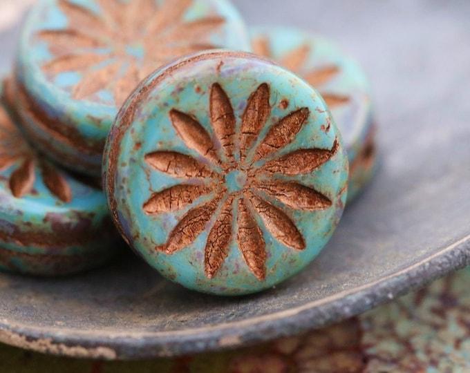 BRONZED BLUE MOSS Aster .. 4 Premium Picasso Czech Glass Aster Coin Beads 12mm (7845-4)