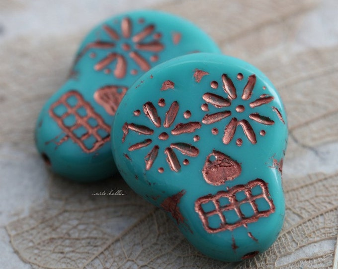 sale .. COPPER TEAL SKULLS .. 2 Picasso Czech Sugar Skull Beads 20x17mm (5522-2)