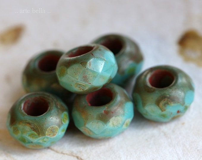 TURQUOISE ROLLER No. 1 .. 6 Premium Picasso Czech Glass Large Hole Roller Beads 8x12mm (4346-6)