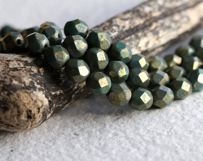 GOLDEN TEAL PEBBLES .. New 25 Premium Luster Picasso Czech Glass Beads 6mm (8738-st)
