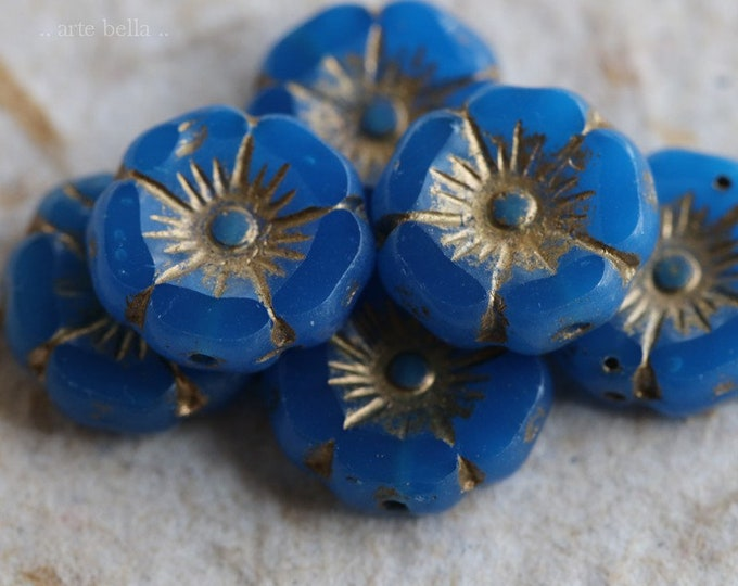 GOLDEN LAPIS PANSY .. 6 Premium Picasso Czech Glass Flower Beads 12mm (7729-6)