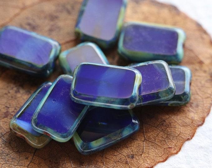 COBALT RECTANGLES .. 10 Premium Picasso Czech Glass Rectangle Beads 12x8mm (7972-10)