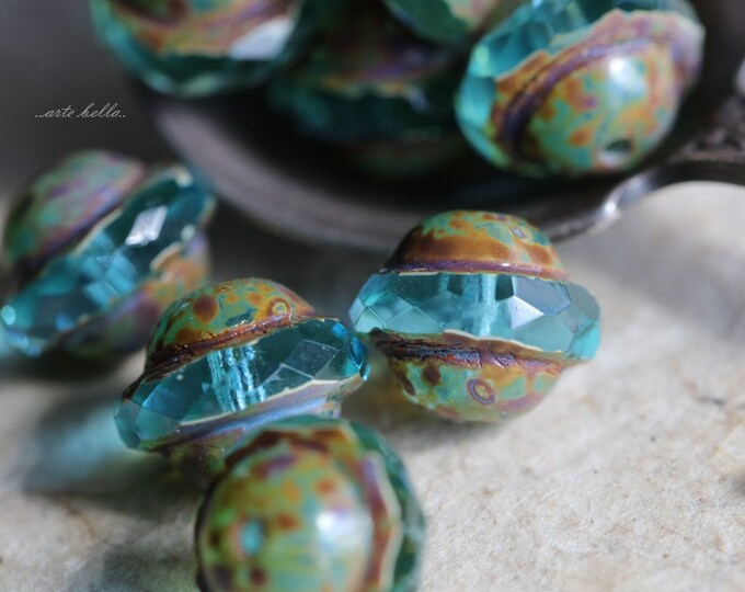 AQUA BLISS No. 2 .. 10 Picasso Czech Glass Saturn Beads 8x10mm (5192-10)