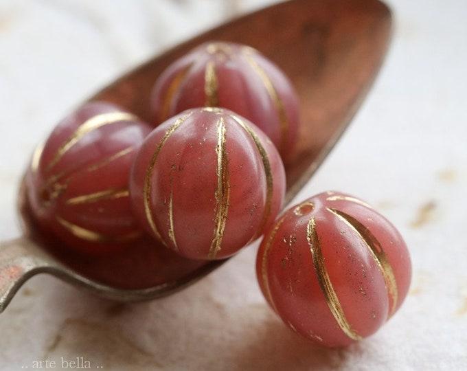 GOLDEN BITTERSWEET MELONS 14mm .. 4 Premium Czech Glass Melon Beads (8500-4)