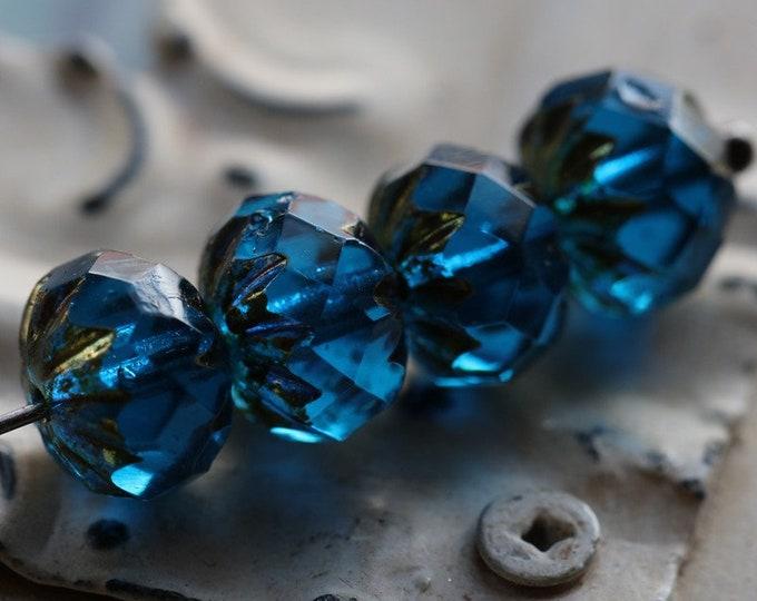 GILDED BLUE CRULLER .. New 10 Premium Picasso Czech Glass Beads 9x6mm (6986-10)