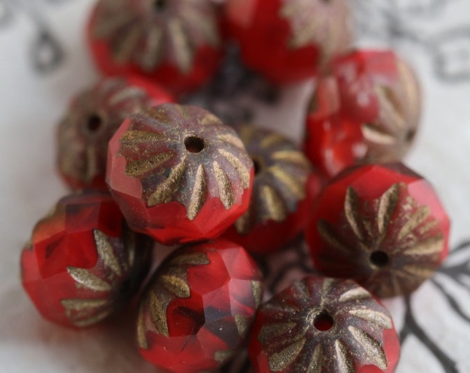 BRONZED RUBY CRULLER .. New 10 Premium Picasso Czech Glass Cruller Beads 9x6mm (7484-10)