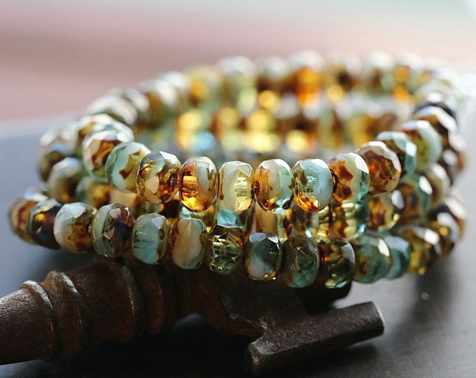 Earthy CARAMEL SKY BABIES .. New 30 Premium Picasso Czech Glass Faceted Rondelle Beads 3x5mm (8633-st)