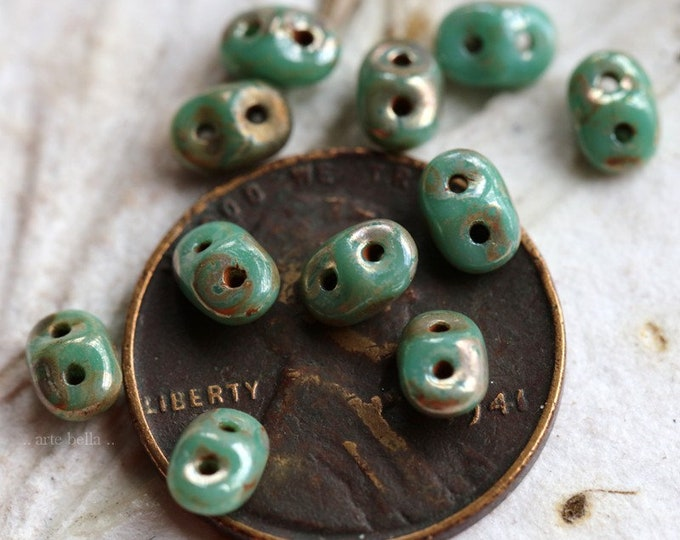 SILVERED TURQUOISE HOOTS No. 2 .. 50 Premium Picasso Czech Glass Super Duo Seed Beads 5x2.5mm (7328-50)