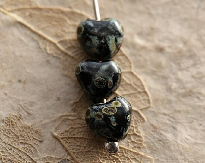 TWILIGHT BEBE HEARTS .. 20 Premium Picasso Czech Glass Puffy Heart Beads 6mm (8723-20)