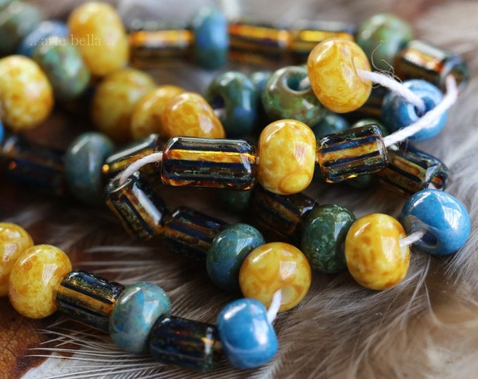 """BOHEMIAN SEED MIX No. 7569 .. 20"""" Premium Picasso Czech Glass Striped Seed Bead Mix Size 4/0 (7569-st)"""