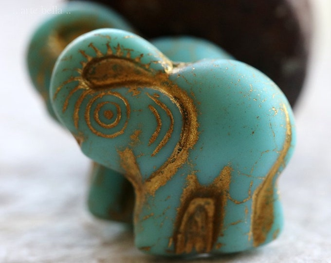 last ones .. GOLDEN TURQUOISE ELLE .. 2 Premium Picasso Czech Glass Elephant Beads 20x23mm (6405-2)