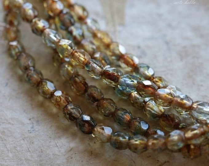 AMBER BLUES .. 50 Premium Picasso Faceted Czech Glass Beads 4mm (4891-st)