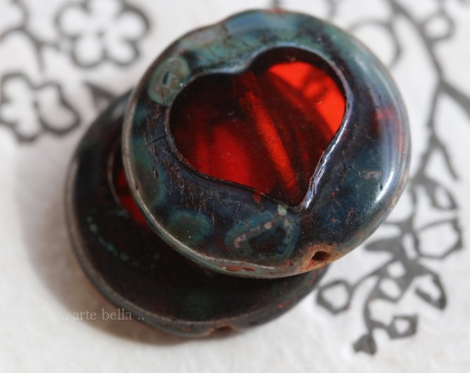 CRANBERRY COIN THUMPERS .. 2 Premium Picasso Czech Glass Coin Heart Beads 17mm (7466-2)
