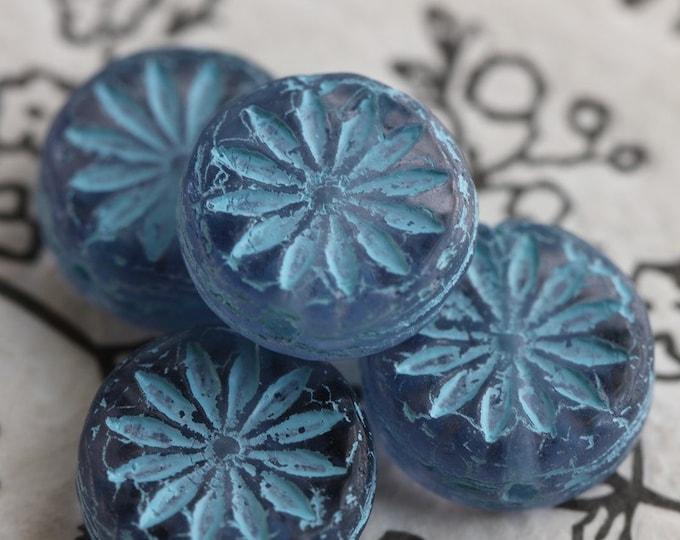 BLUE PURPLE ASTER .. New 4 Premium Czech Glass Flower Coin Beads 12mm (7437-4)