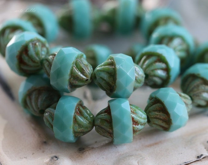 sale .. TURQUOISE TWIST .. 10 Premium Picasso Czech Glass Turbine Beads 10x12mm (5116-10)