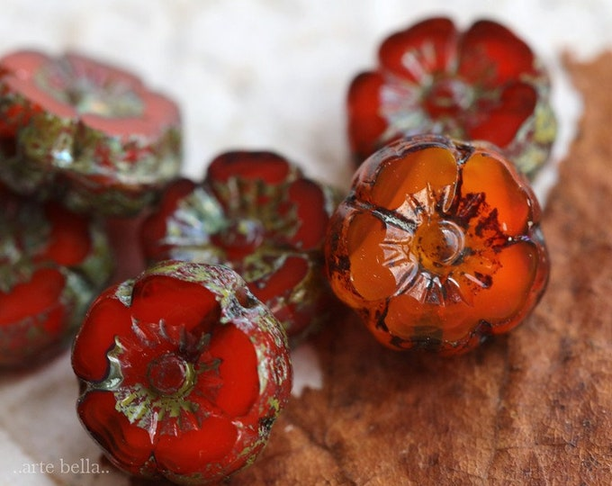 PERSIMMON PANSY 9mm .. 6 Premium Picasso Czech Glass Flower Beads 8.5-9mm (7283-6)