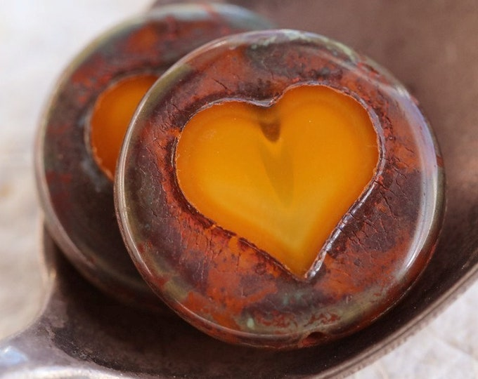 ORANGE COIN THUMPERS .. New 2 Premium Picasso Czech Glass Coin Heart Beads 17mm (7506-2)