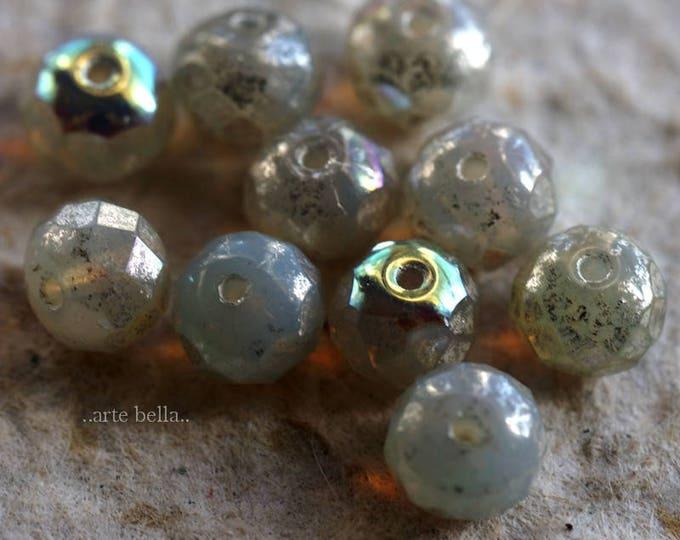 MERCURY OPAL TOTS .. 10 Picasso Czech Rondelle Glass Beads 5x7mm (6146-10)