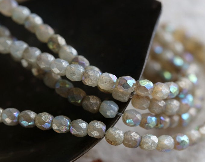 MYSTIC OPAL BITS 3mm .. New 50 Premium Czech Glass Faceted Round Beads (7065-st)