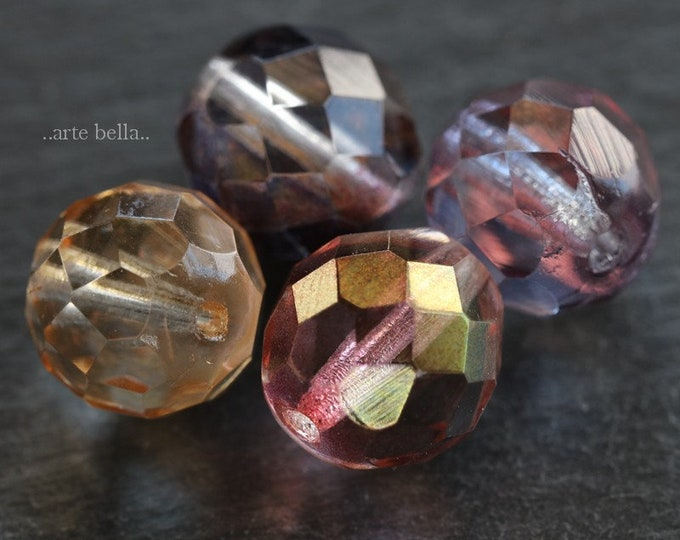 MIX No. 2279 .. 4 Premium Picasso Czech Glass Beads 12mm (2279-4)