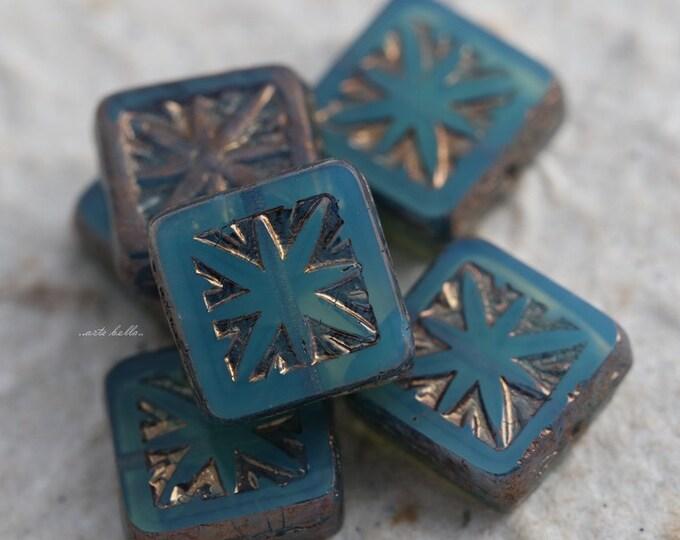 COASTAL SQUARES .. 6 Premium Picasso Czech Square Glass Beads 10mm (5516-6)