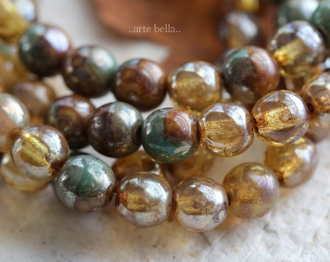 CASHMERE TORTOISE MARBLES 6mm .. 25 Premium Picasso Czech Druk Glass Beads (6325-st)