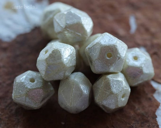 SILVERED IVORY NUGGETS No. 2 .. 10 Picasso Czech Glass English Cut Beads 10x9mm (6086-10)