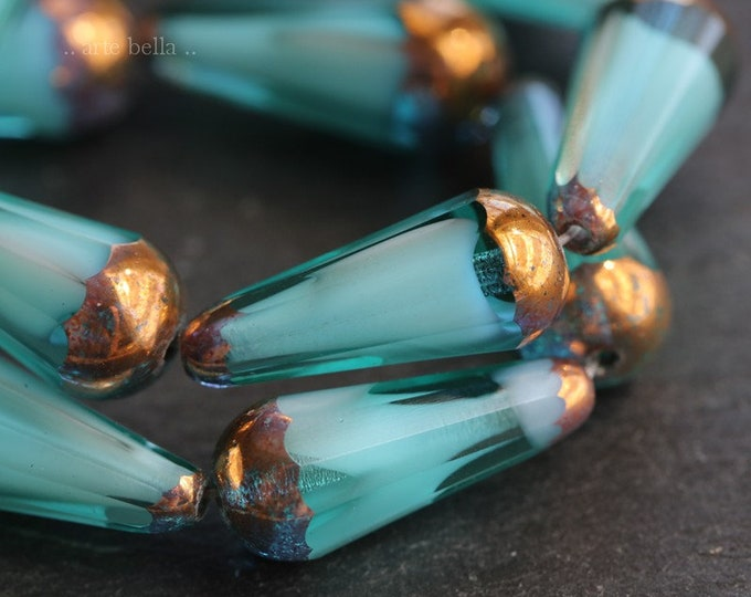 BRONZED OCEAN FACETED Chubettes .. 6 Premium Picasso Czech Glass Faceted Drop Beads 20x9mm (7419-6)