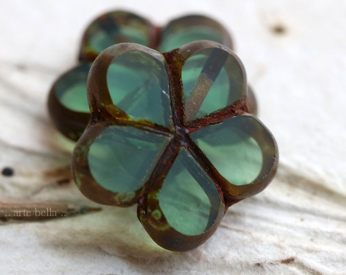 LAGOON POSIES .. NEW 2 Premium Picasso Czech Glass Flower Beads 17mm (7118-2)