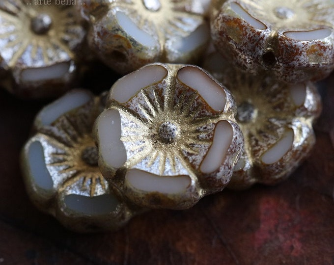 GOLDEN IVORY PANSY .. 6 Premium Picasso Czech Glass Flower Beads 12mm (7711-6)