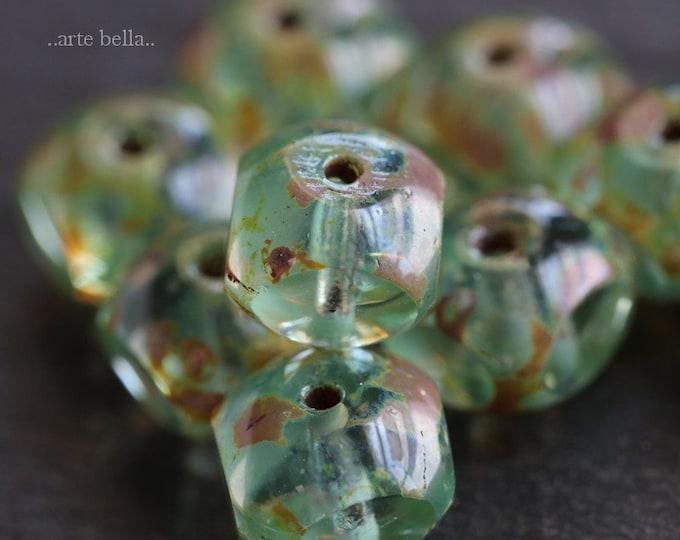 AQUA QUADRIES .. 10 Premium Picasso Czech Faceted Glass Beads 8x6mm (6537-10)
