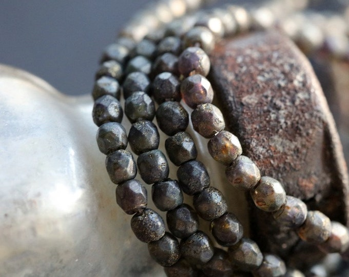 CHARCOAL BITS 3mm .. NEW 50 Premium Etched Czech Faceted Round Glass Beads (8590-st)