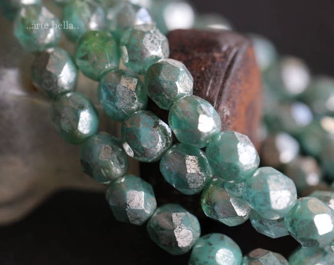 SILVERED SEAFOAM APPLES .. 25 Picasso Czech Faceted Glass Beads 6mm (6167-st)