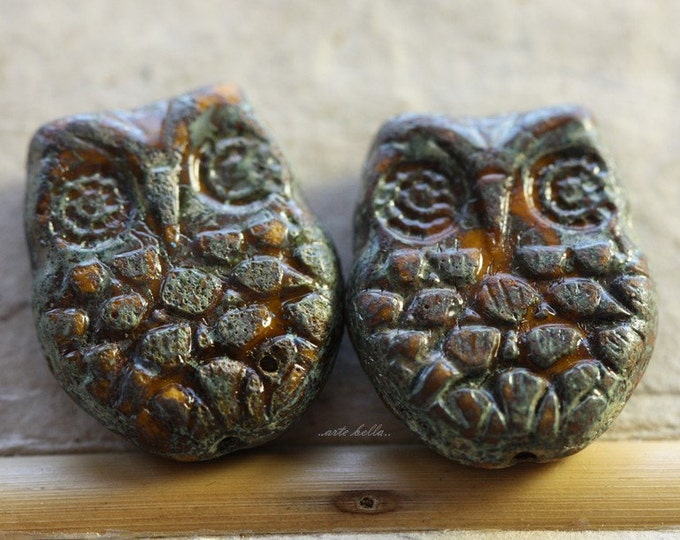 GOLDEN HOOTS .. 2 Premium Picasso Czech Glass Owl Beads 18x15mm (4544-2)