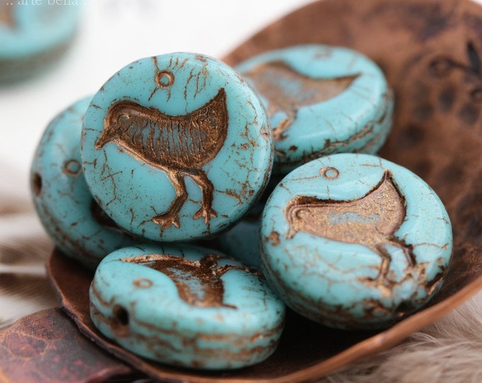 BRONZED TURQUOISE LIL' Chicks  .. New 10 Premium Picasso Czech Glass Bird Coin Beads 12mm (7938-10)