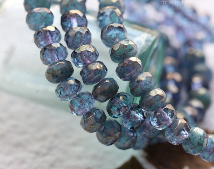 GOLDEN VIOLET BLUES .. 30 Premium Czech Glass Metallic Luster Rondelle Beads 3x5mm (8071-st)